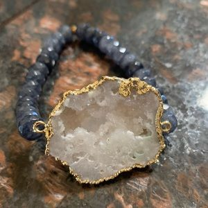 Large Druzy Stone Grey and Hold Beaded Bracelet